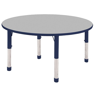 "48"" Round T-Mold Activity Table, Grey/Navy/Chunky"