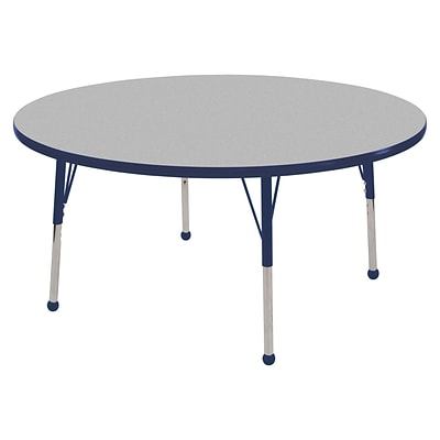 "48"" Round T-Mold Activity Table, Grey/Navy/Standard Ball"