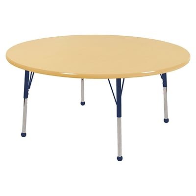 "48"" Round T-Mold Activity Table, Maple/Maple/Navy/Standard Ball"