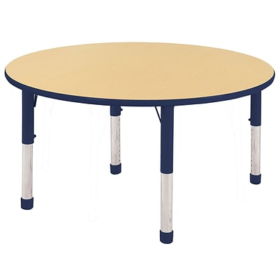 "48"" Round T-Mold Activity Table, Maple/Navy/Chunky"