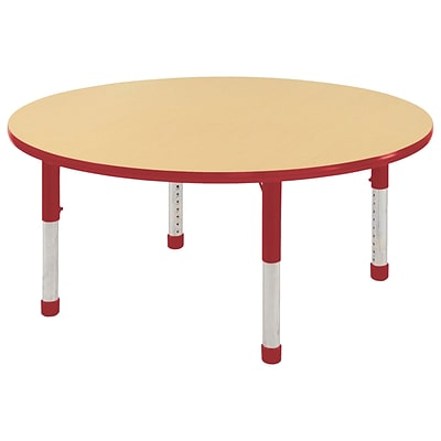 "48"" Round T-Mold Activity Table, Maple/Red/Chunky"