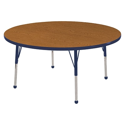 "48"" Round T-Mold Activity Table, Oak/Navy/Standard Ball"