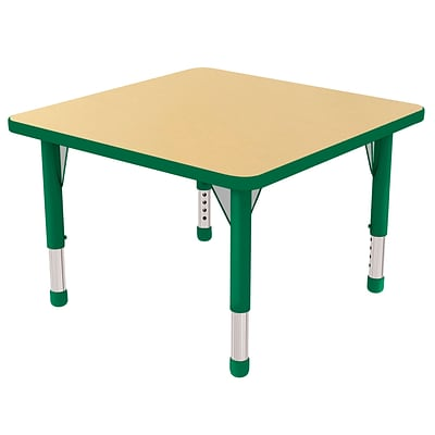 "30"" Square T-Mold Activity Table, Maple/Green/Chunky"