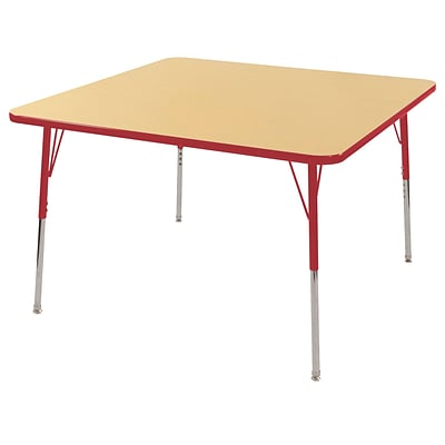 "30"" Square T-Mold Activity Table, Maple/Red/Standard Swivel"
