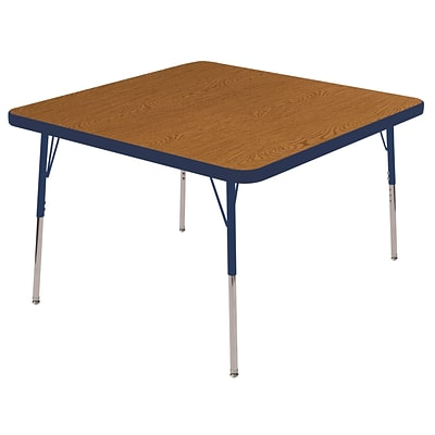 "30"" Square T-Mold Activity Table, Oak/Navy/Standard Swivel"