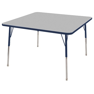 "48"" Square T-Mold Activity Table, Grey/Navy/Standard Swivel"