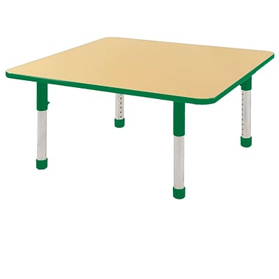 "48"" Square T-Mold Activity Table, Maple/Green/Chunky"