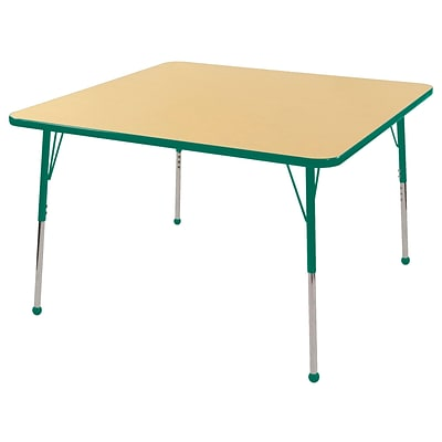 "48"" Square T-Mold Activity Table, Maple/Green/Standard Ball"
