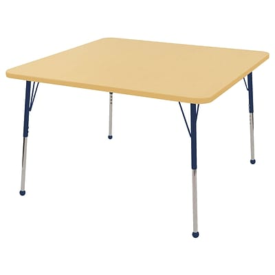 "48"" Square T-Mold Activity Table, Maple/Maple/Navy/Standard Ball"