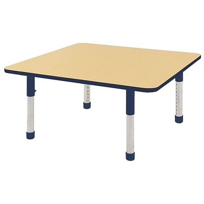 "48"" Square T-Mold Activity Table, Maple/Navy/Chunky"