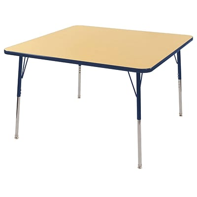 "48"" Square T-Mold Activity Table, Maple/Navy/Standard Swivel"
