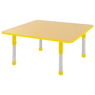 "48"" Square T-Mold Activity Table, Maple/Yellow/Chunky"