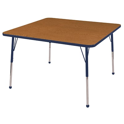 "48"" Square T-Mold Activity Table, Oak/Navy/Standard Ball"