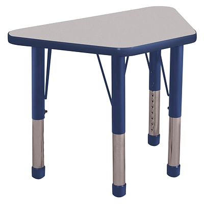 "18""x30"" Trapezoid T-Mold Activity Table, Grey/Navy/Chunky"