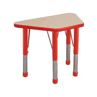 ECR4Kids 18x30 Trap Table Maple/Red -Chunky Legs (ELR-14118-MRD-C)