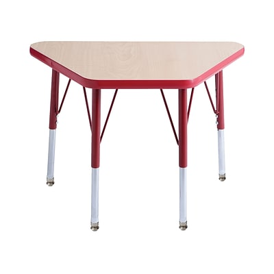 "18""x30"" Trapezoid T-Mold Activity Table, Maple/Red/Standard Swivel"