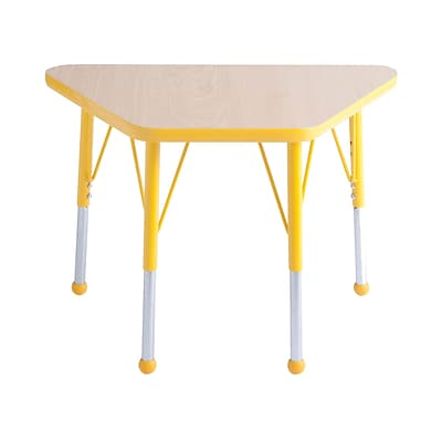 "18""x30"" Trapezoid T-Mold Activity Table, Maple/Yellow/Standard Ball"