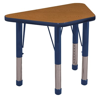 "18""x30"" Trapezoid T-Mold Activity Table, Oak/Navy/Chunky"