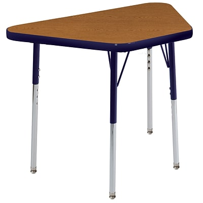 "18""x30"" Trapezoid T-Mold Activity Table, Oak/Navy/Toddler Swivel"