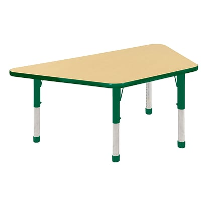 "30""x60"" Trapezoid T-Mold Activity Table, Maple/Green/Chunky"