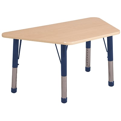 "30""x60"" Trapezoid T-Mold Activity Table, Maple/Maple/Navy/Chunky"