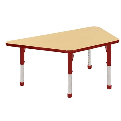 "30""x60"" Trapezoid T-Mold Activity Table, Maple/Red/Chunky"