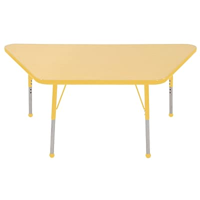 "30""x60"" Trapezoid T-Mold Activity Table, Maple/Yellow/Toddler Ball"