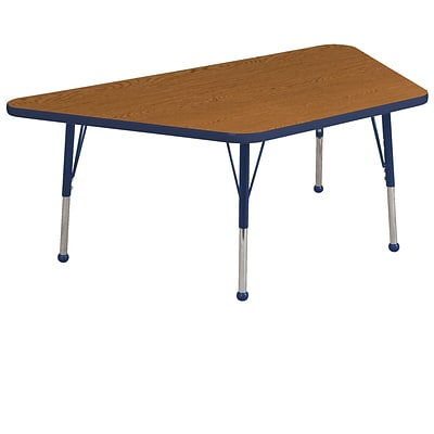 "30""x60"" Trapezoid T-Mold Activity Table, Oak/Navy/Toddler Ball"