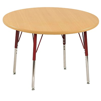 "30"" Round T-Mold Activity Table, Maple/Maple/Red/Standard Swivel"
