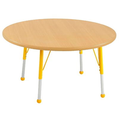 "30"" Round T-Mold Activity Table, Maple/Maple/Yellow/Standard Ball"