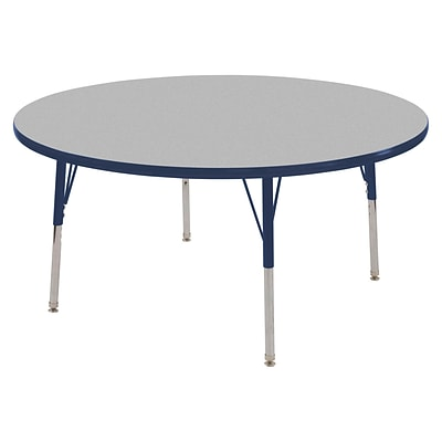 "60"" Round T-Mold Activity Table, Grey/Navy/Standard Swivel"