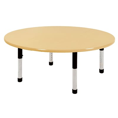 "60"" Round T-Mold Activity Table, Maple/Maple/Black/Chunky"