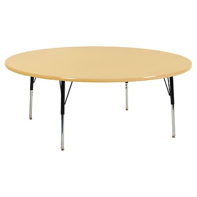 "60"" Round T-Mold Activity Table, Maple/Maple/Black/Standard Swivel"