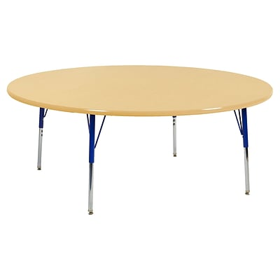 "60"" Round T-Mold Activity Table, Maple/Maple/Blue/Toddler Swivel"