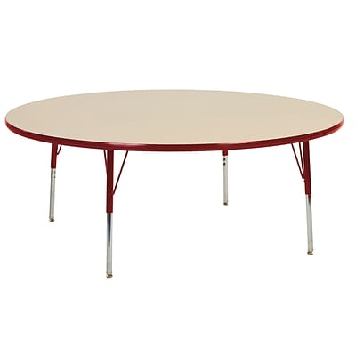 "60"" Round T-Mold Activity Table, Maple/Red/Standard Swivel"