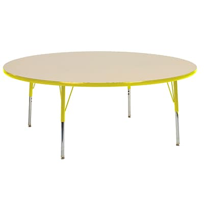 "60"" Round T-Mold Activity Table, Maple/Yellow/Toddler Swivel"
