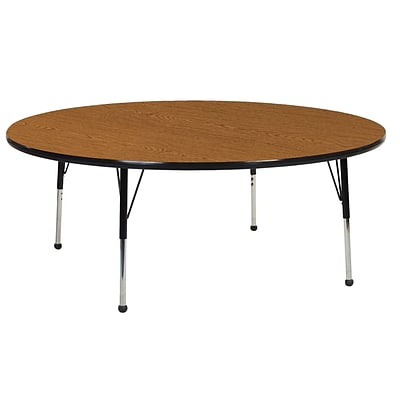 "60"" Round T-Mold Activity Table, Oak/Black/Standard Ball"