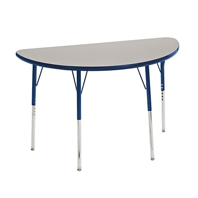 "24""x48"" Half Round T-Mold Activity Table, Grey/Navy/Standard Swivel"
