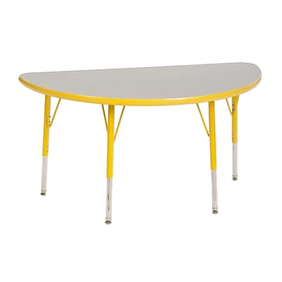 "24""x48"" Half Round T-Mold Activity Table, Grey/Yellow/Toddler Swivel"