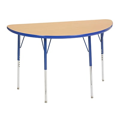 "24""x48"" Half Round T-Mold Activity Table, Maple/Blue/Toddler Swivel"