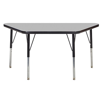 "24""x48"" Trapezoid T-Mold Activity Table, Grey/Black/Toddler Swivel"