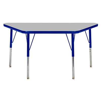 "24""x48"" Trapezoid T-Mold Activity Table, Grey/Blue/Standard Swivel"
