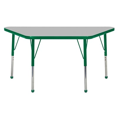 "24""x48"" Trapezoid T-Mold Activity Table, Grey/Green/Standard Ball"