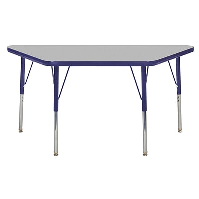 "24""x48"" Trapezoid T-Mold Activity Table, Grey/Navy/Toddler Swivel"