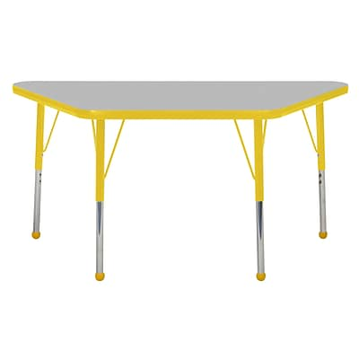 "24""x48"" Trapezoid T-Mold Activity Table, Grey/Yellow/Standard Ball"