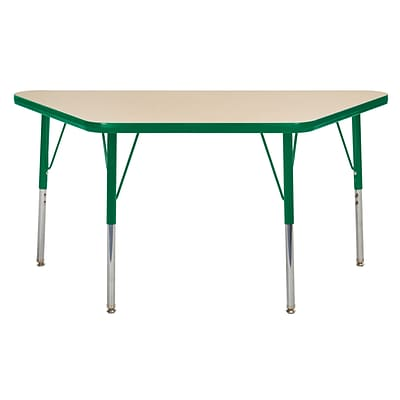 "24""x48"" Trapezoid T-Mold Activity Table, Maple/Green/Standard Swivel"