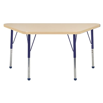 "24""x48"" Trapezoid T-Mold Activity Table, Maple/Maple/Navy/Toddler Ball"