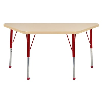 "24""x48"" Trapezoid T-Mold Activity Table, Maple/Maple/Red/Standard Ball"