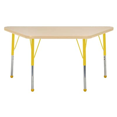 "24""x48"" Trapezoid T-Mold Activity Table, Maple/Maple/Yellow/Standard Ball"