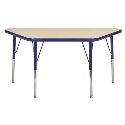 "24""x48"" Trapezoid T-Mold Activity Table, Maple/Navy/Standard Swivel"